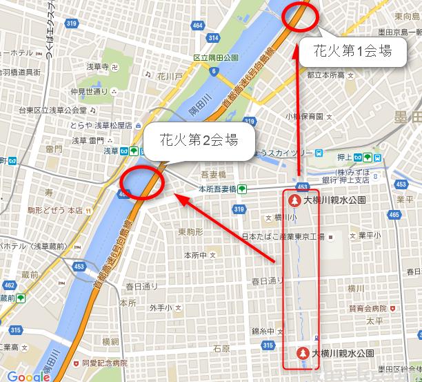 大横川親水公園から隅田川花火会場