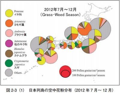 日本列島の花粉空中分布図7月12月
